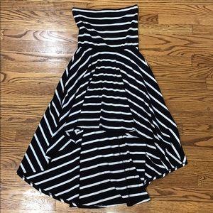 Strapless Striped High Low Dress